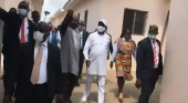 President Dr. George Manneh Weah and Entourage touring the new facilities yesterday