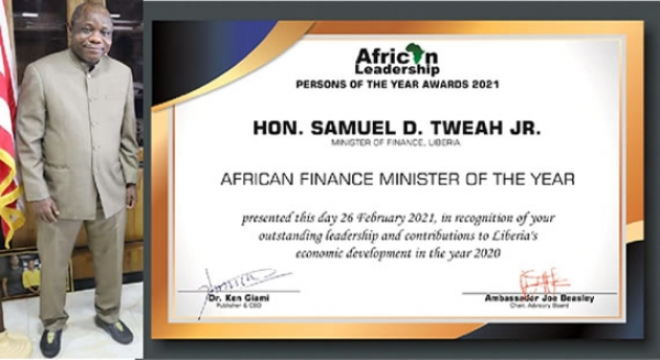 Samuel D. Tweah, Jr. Named African Best Finance Minister of The Year 2020