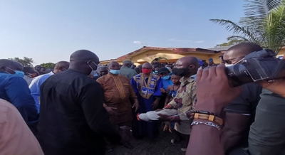 President George Manneh Weah Being Traditionally Welcomed By the People of Grand Gedeh