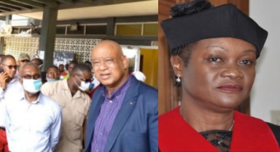 R-L: Associate Justice In-Chambers of the Supreme Court of Liberia Sie-A-NyeneGyapay Yuoh And Members of the CPP