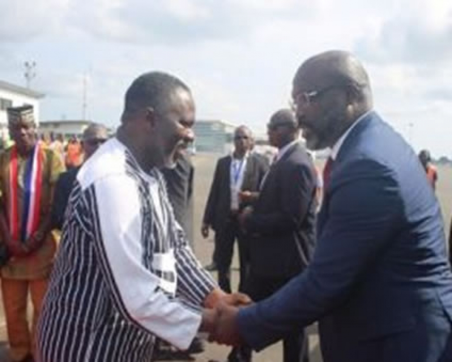 State MinisterNathaniel McGillGreets President George Manneh Weah upon arrival from the UNGA