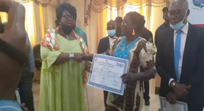 The Senators-elect  receive their certificates from the NEC