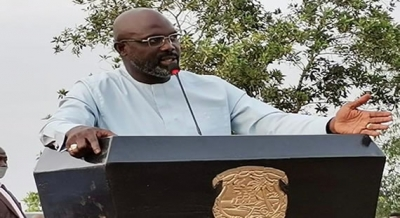 President George Manneh Weah speaking Tuesday, March 23, 2021 in Tehr District, Bomi County