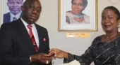Interim President Rev. Alvin E. Attah Receiving The Keys To The Institution From The Chairperson of The Board Dr. Josephine Francis